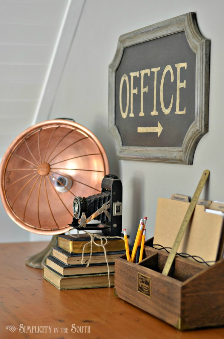 Desk heater lamp in a vintage office, by Simplicity in the South, featured on Funky Junk Interiors