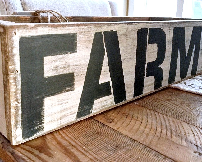 Repurposed and distressed farm crate, by Homeroad, featured on Funky Junk Interiors