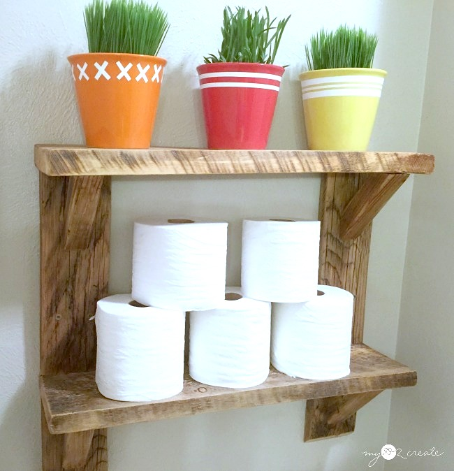 Reclaimed wood farmhouse shelves, by My Love 2 Create, featured on Funky Junk Interiors