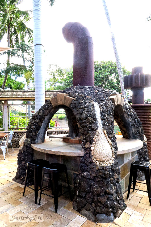Lava rock outdoor oven at The Mill House in Maui. A dream restaurant for junkers, plus, located at The Maui Tropical Plantation. | funkyjunkinteriors.net