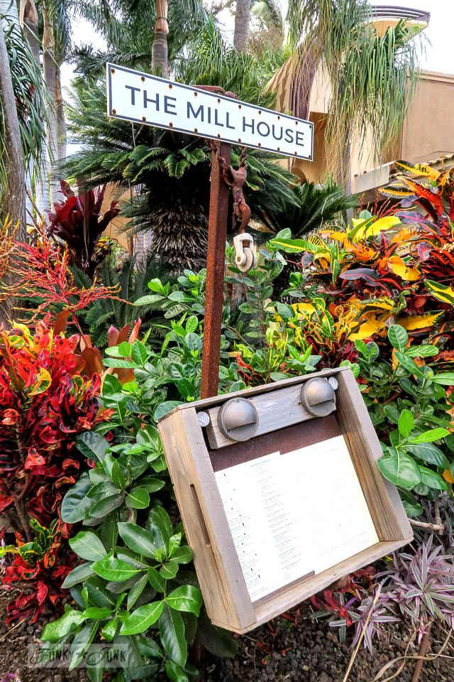 Upcycled crate menu at The Mill House in Maui. A dream restaurant for junkers, plus, located at The Maui Tropical Plantation. | funkyjunkinteriors.net