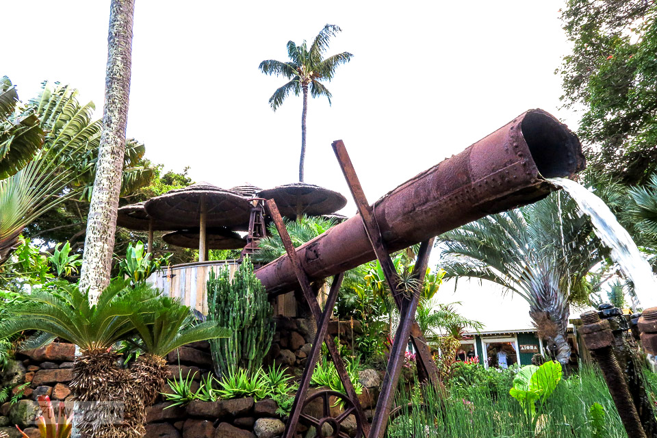 Rusty pipe waterfall feature at The Mill House in Maui. A dream restaurant for junkers, plus, located at The Maui Tropical Plantation. | funkyjunkinteriors.net