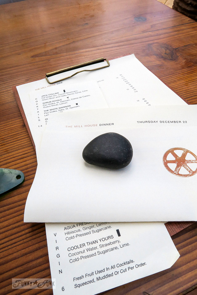 A rock topped menu at The Mill House in Maui. A dream restaurant for junkers, plus, located at The Maui Tropical Plantation. | funkyjunkinteriors.net