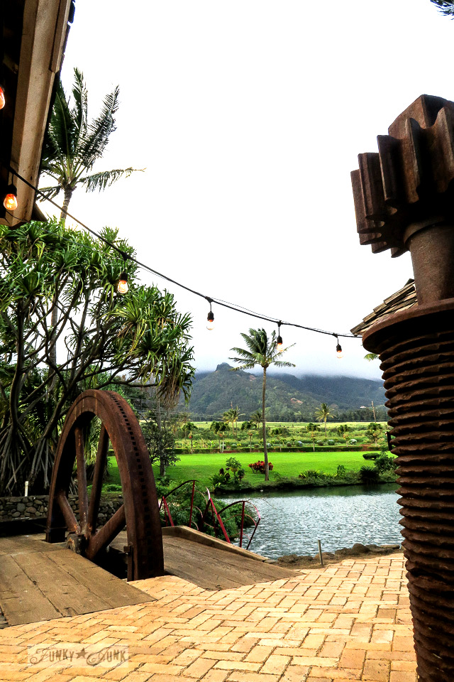 Rusty gear bridges and gorgeous scenery at The Mill House in Maui. A dream restaurant for junkers, plus, located at The Maui Tropical Plantation. | funkyjunkinteriors.net