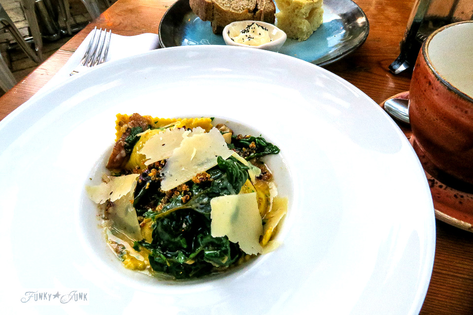Mushroom ravioli at The Mill House in Maui. A dream restaurant for junkers, plus, located at The Maui Tropical Plantation. | funkyjunkinteriors.net
