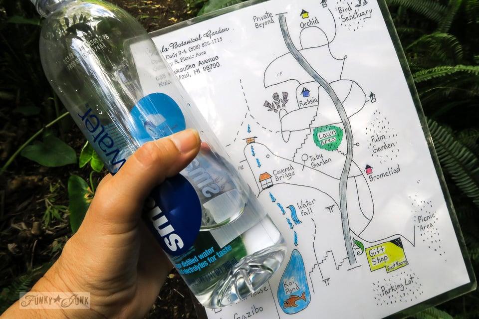 The hand drawn map given while visiting at Kula Botanical Garden, in Maui, Hawaii | funkyjunkinteriors.net