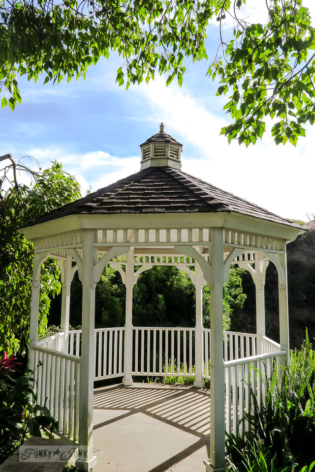 White gazebo with sunshine and midday shadows at Kula Botanical Garden, in Maui, Hawaii | funkyjunkinteriors.net