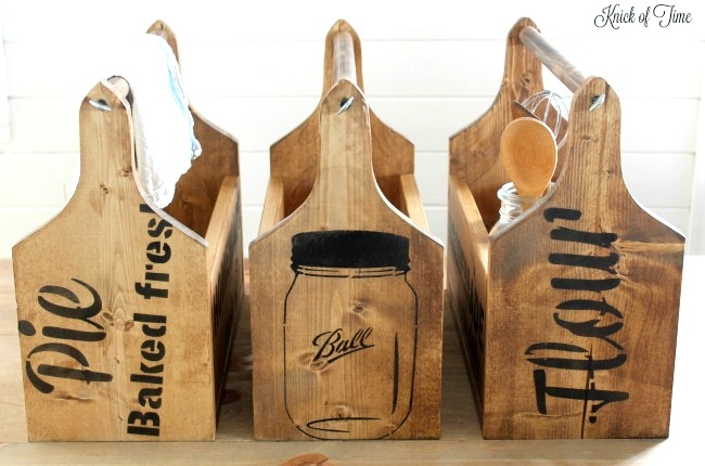 Breadboard styled wooden toolboxes with vintage signs, by Knick of Time, featured on Funky Junk Interiors