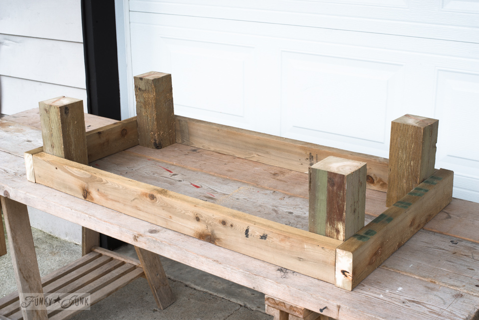 How to make this oversized spring garden tulip crate for a raised flowerbed using Funky Junk's Old Sign Stencils | funkyjunkinteriors.net