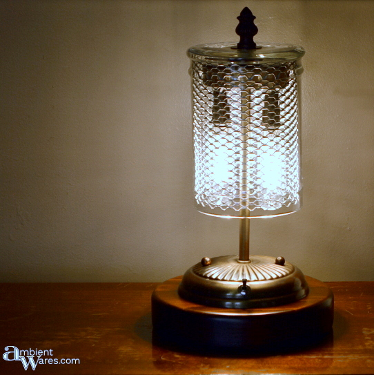 Repurposed ceiling fixture table lamp, by Ambient Wares, featured on Funky Junk Interiors