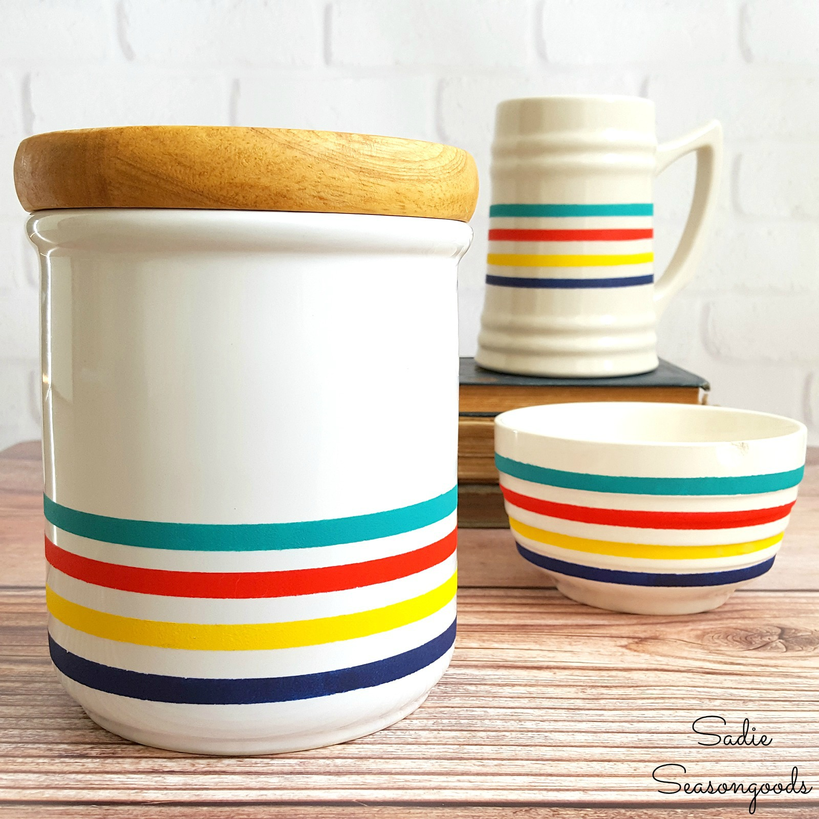 Painted Hudson's Bay striped canister and dishes, by Sadie Seasongoods, featured on Funky Junk Interiors
