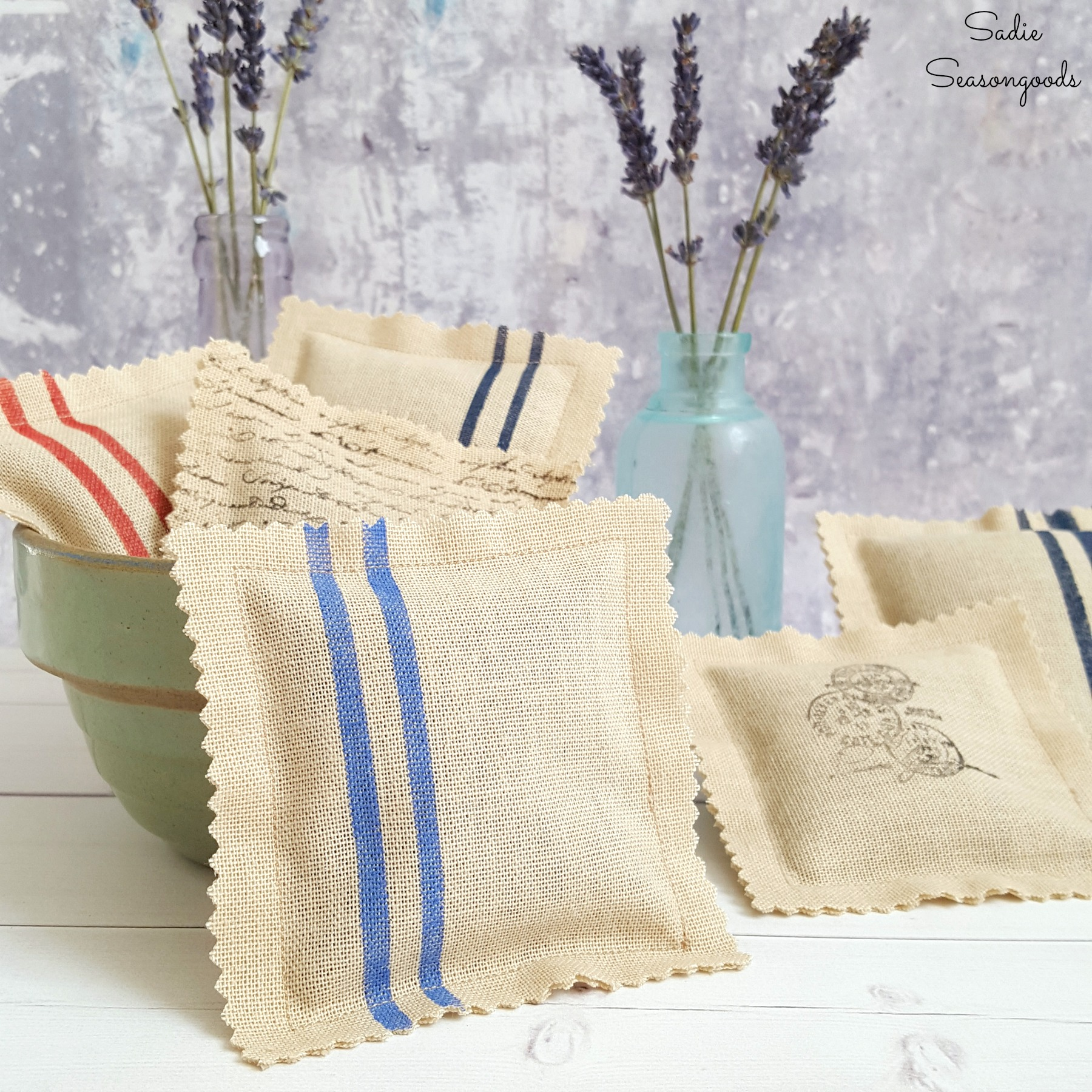 Faux grain sack sachets from curtains, by Sadie Seasongoods, featured on Funky Junk Interiors