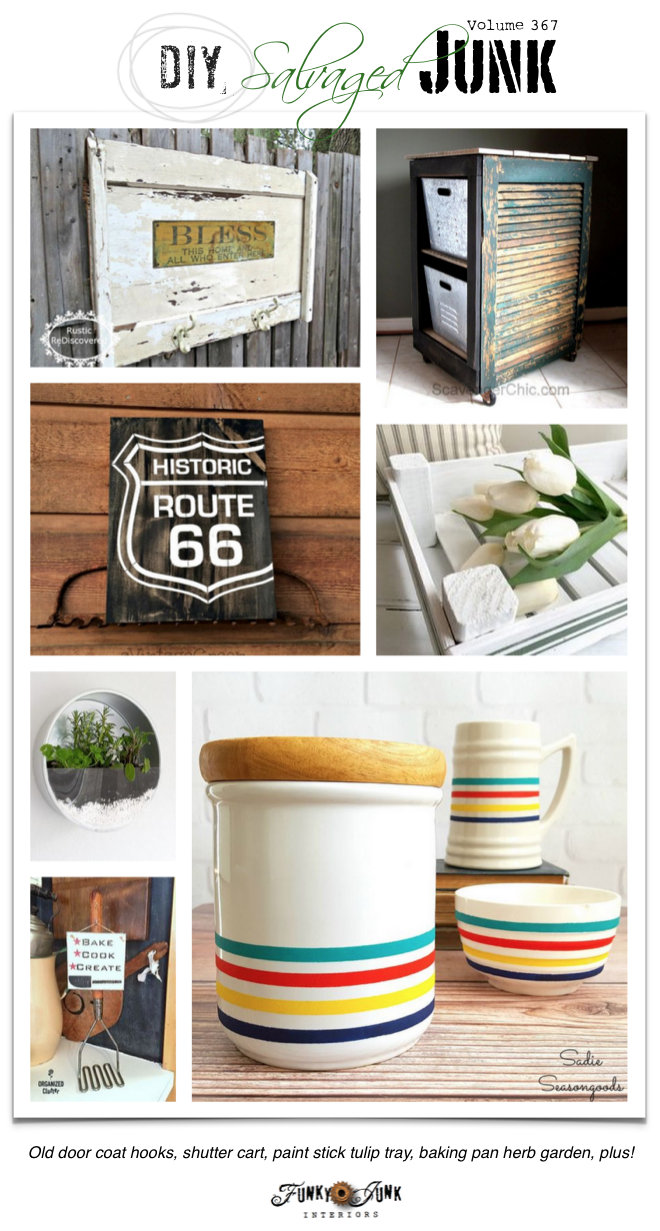 DIY Salvaged Junk Projects 367 - up-cycled features with a themed re-purposed link up on funkyjunkinteriors.net