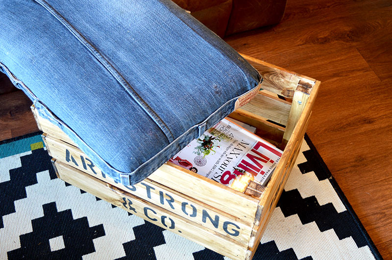 Stamped crate denim ottoman, by Pillar Box Blue, featured on Funky Junk Interiors