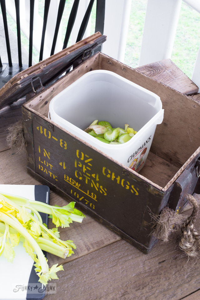 Learning about Direct Compost - Composting inside an antique crate. Startle Garden book review on funkyjunkinteriors.net