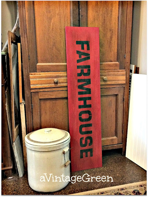 Creating farmhouse styled old signs, by A Vintage Green, featured on Funky Junk Interiors