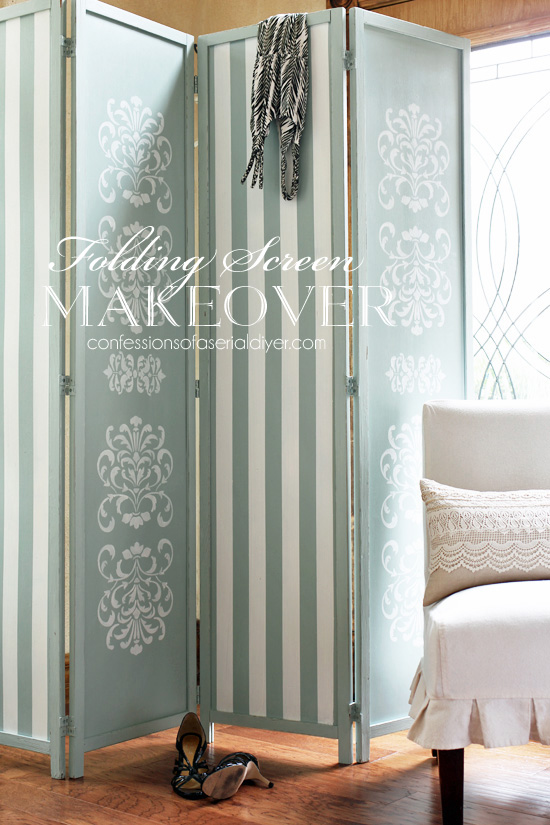 Folding screen painted makeover, by Confessions of a Serial DIYer, featured on Funky Junk Interiors