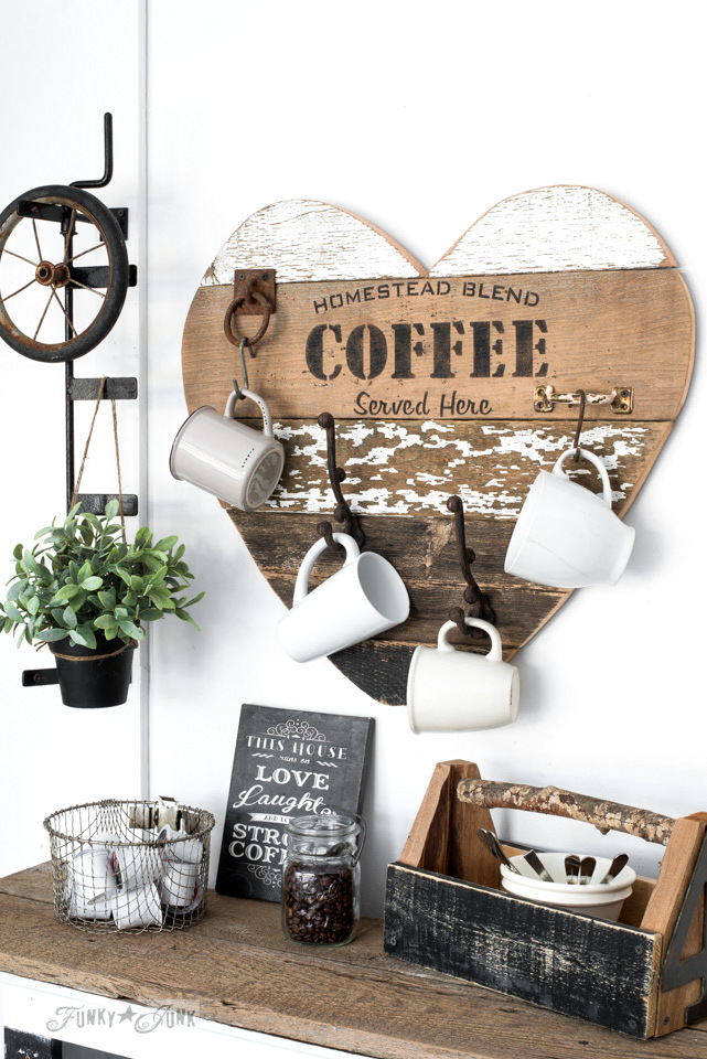 DIY reclaimed wood heart, with Homestead Blend Coffee mug holder, using Funky Junk's Old Sign Stencils | funkyjunkinteriors.net