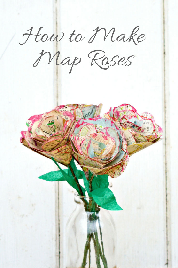 DIY paper map roses, by Pillar Box Blue, featured on Funky Junk Interiors