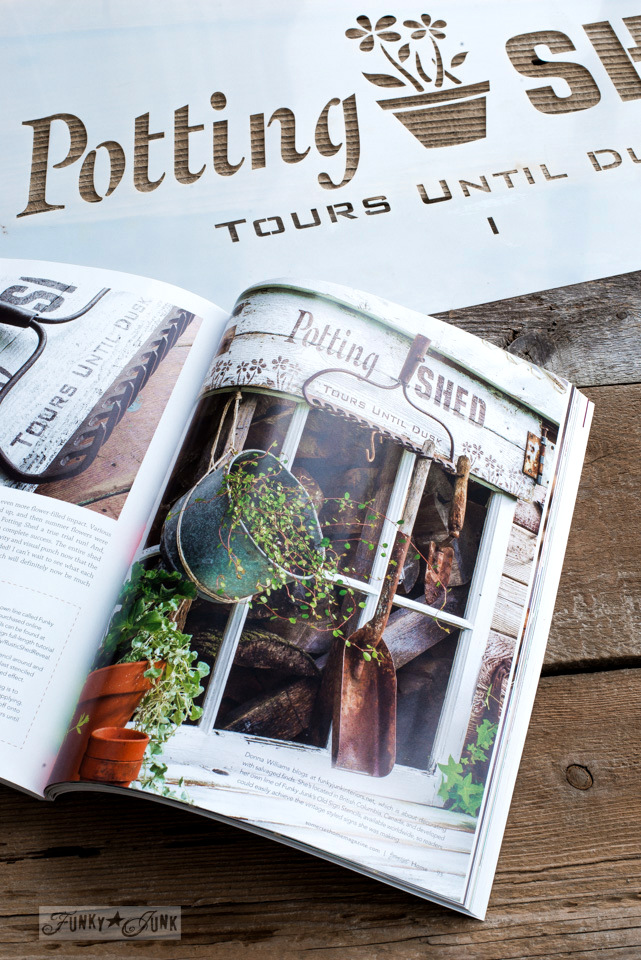 Potting Shed sign in Somerset Home Magazine using Funky Junk's Old Sign Stencils | funkyjunkinteriors.net