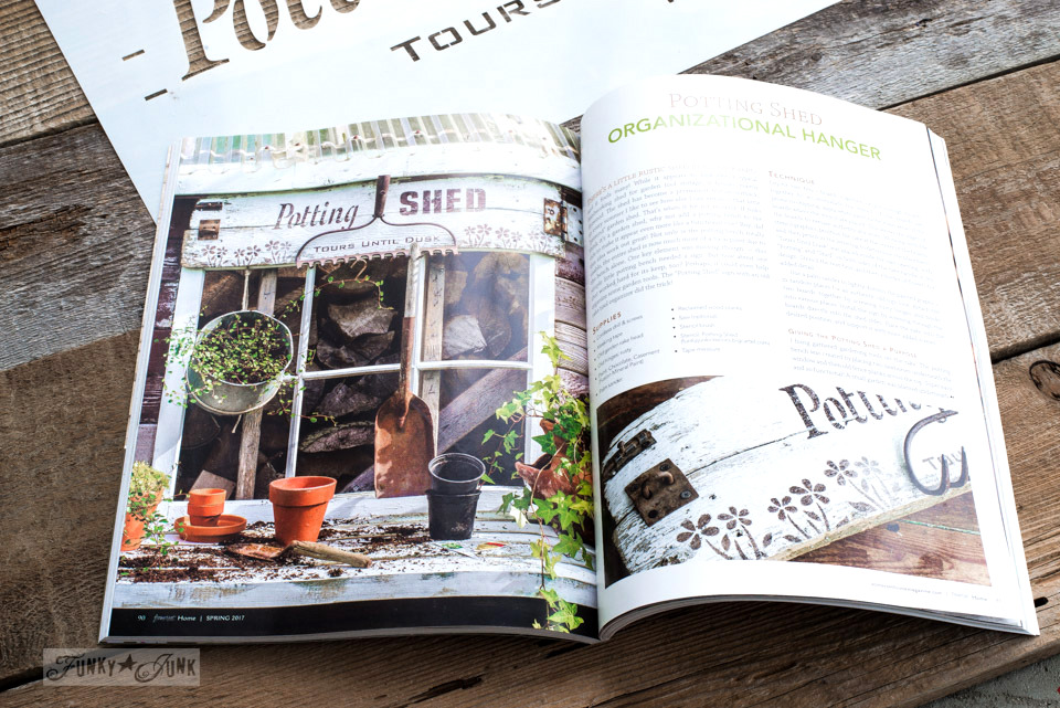 Potting Shed sign gets published in Somerset Home Magazine 2017 using Funky Junk's Old Sign Stencils