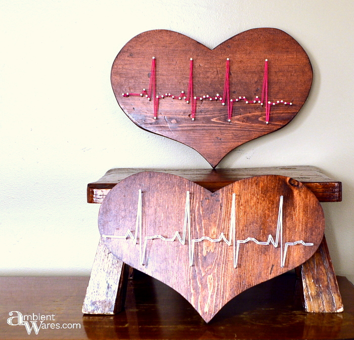 String art Valentine's heartbeat by Ambient Wares, featured on Funky Junk Interiors