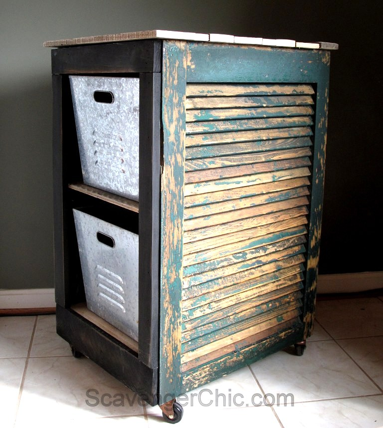 Up-cycled shutter rolling serving cart, by Scavenger Chic, featured on Funky Junk Interiors