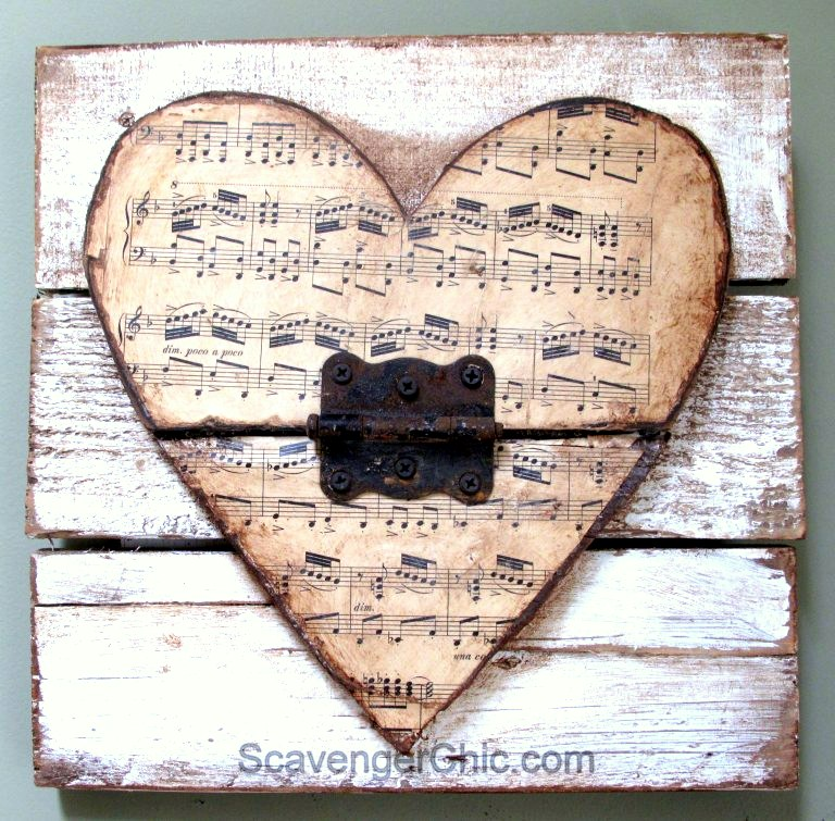 Reclaimed wood Valentine junk hearts, by Scavenger Chic, featured on Funky Junk Interiors