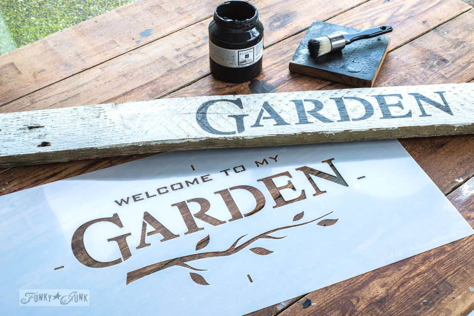 Stencilling Garden to an oversized tulip crate flowerbed, with Fusion Mineral Paint and Funky Junk's Old Sign Stencils | funkyjunkinteriors.net