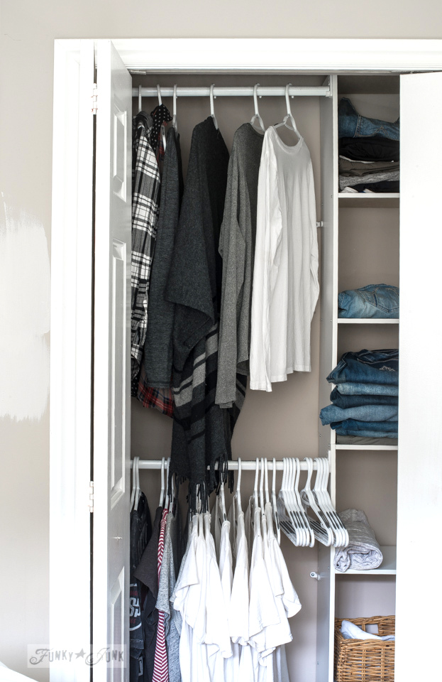 A quick closet clean up. Or two. Made easy with a cheap closet kit, non slip hangers, and Kon Mari. | funkyjunkinteriors.net