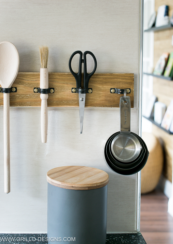 Plumber pipe clip kitchen utensil holder, by Grillo Designs, featured on Funky Junk Interiors