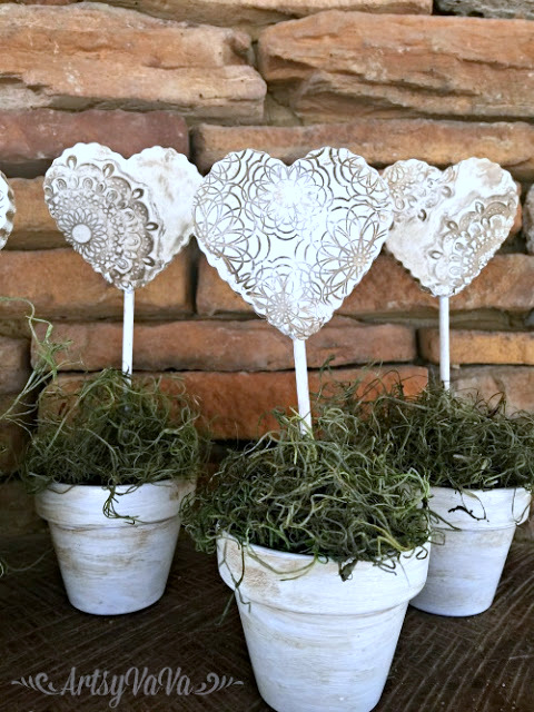Growing oven baked clay hearts in pots, by Artsy VaVa, featured on Funky Junk Interiors