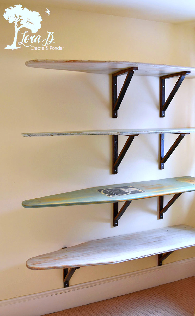 Vintage ironing board shelves, by Lora B, featured on Funky Junk Interiors