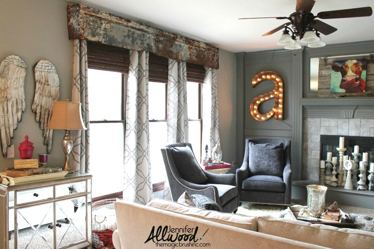 Galvanized window valance, by The Magic Brush, featured on Funky Junk Interiors