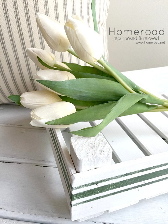 Vintage striped paint stick tulip tray, by Homeroad, featured on Funky Junk Interiors using Funky Junk's Old Sign Stencils
