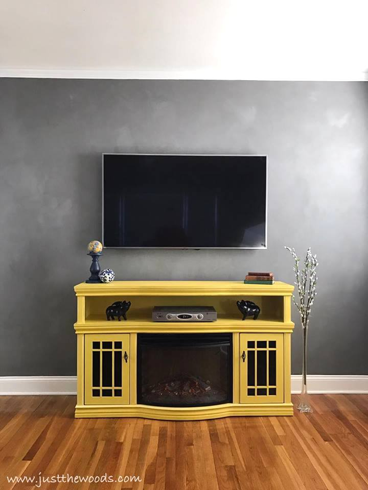 Fresco wall with painted TV console, by Just The Woods, featured on Funky Junk Interiors