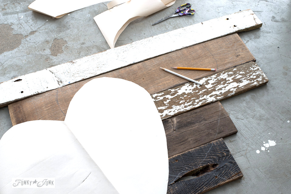 Creating a heart template from paper | 3 ways to use a reclaimed wood junk salvaged junk heart! Perfect for Valentine's Day, or all season. | funkyjunkinteriors.net