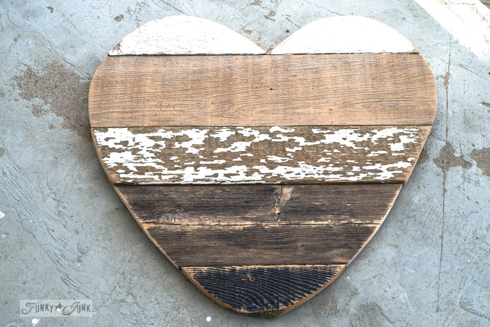 3 ways to use a reclaimed wood junk salvaged junk heart! Perfect for Valentine's Day, or all season. | funkyjunkinteriors.net