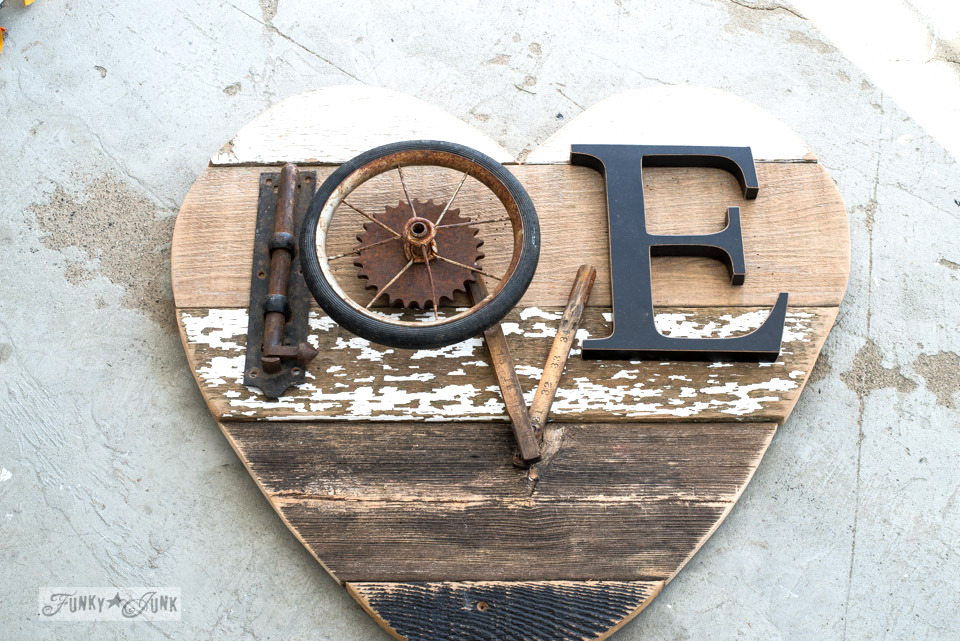 Creating the word LOVE with junk | 3 ways to use a reclaimed wood junk salvaged junk heart! Perfect for Valentine's Day, or all season. | funkyjunkinteriors.net