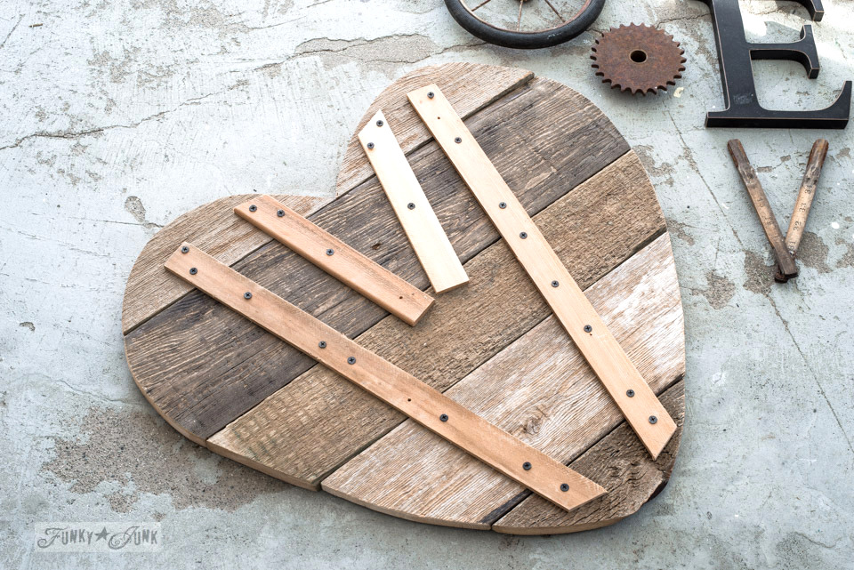 Bracing the back of the heart for stability | 3 ways to use a reclaimed wood junk salvaged junk heart! Perfect for Valentine's Day, or all season. | funkyjunkinteriors.net
