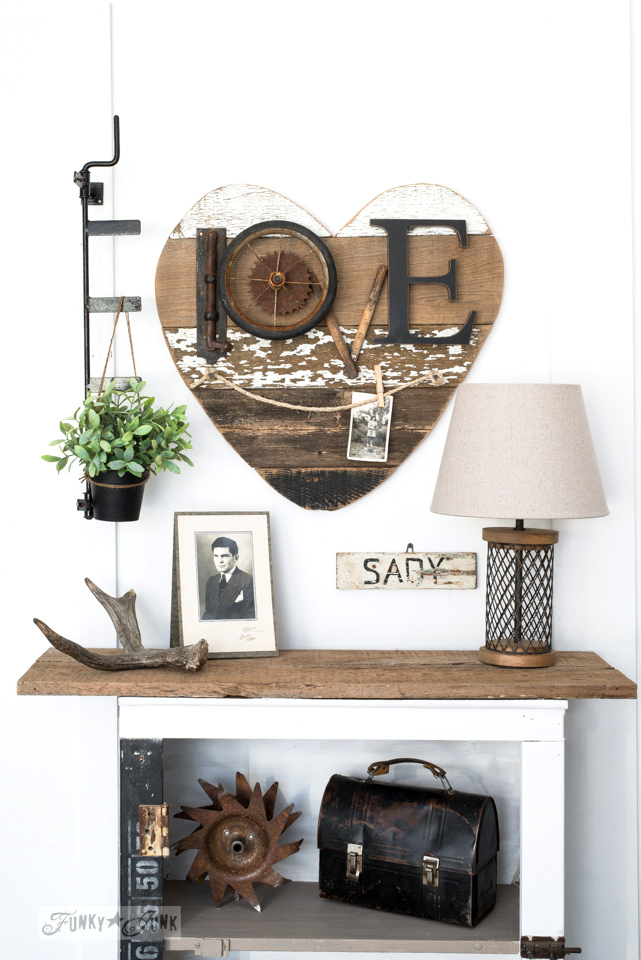Hang pictures from twine: 3 ways to use a reclaimed wood junk heart! Perfect for Valentine's Day, or all season. | funkyjunkinteriors.net