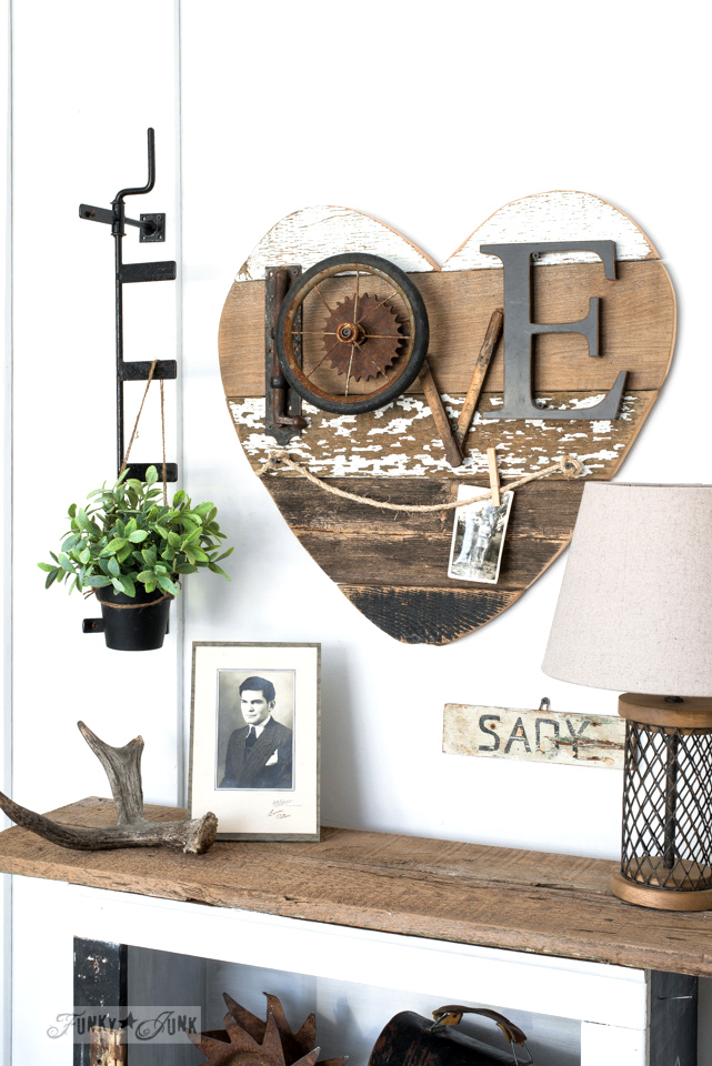 DIY reclaimed wood heart picture twine hanger, with junk LOVE message | funkyjunkinteriors.net