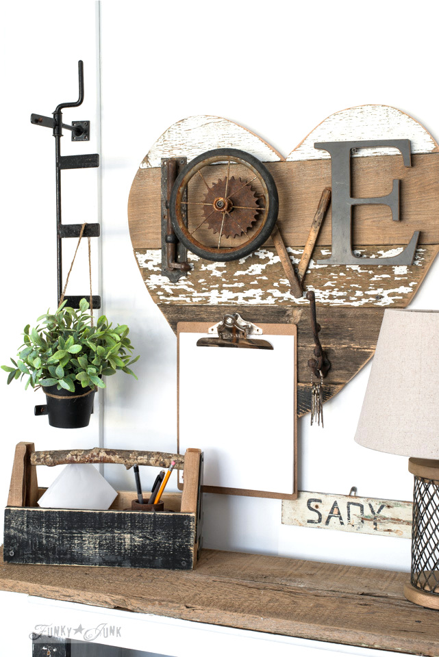 Create a rustic writing station: 3 ways to use a reclaimed wood junk heart! Perfect for Valentine's Day, or all season. | funkyjunkinteriors.net