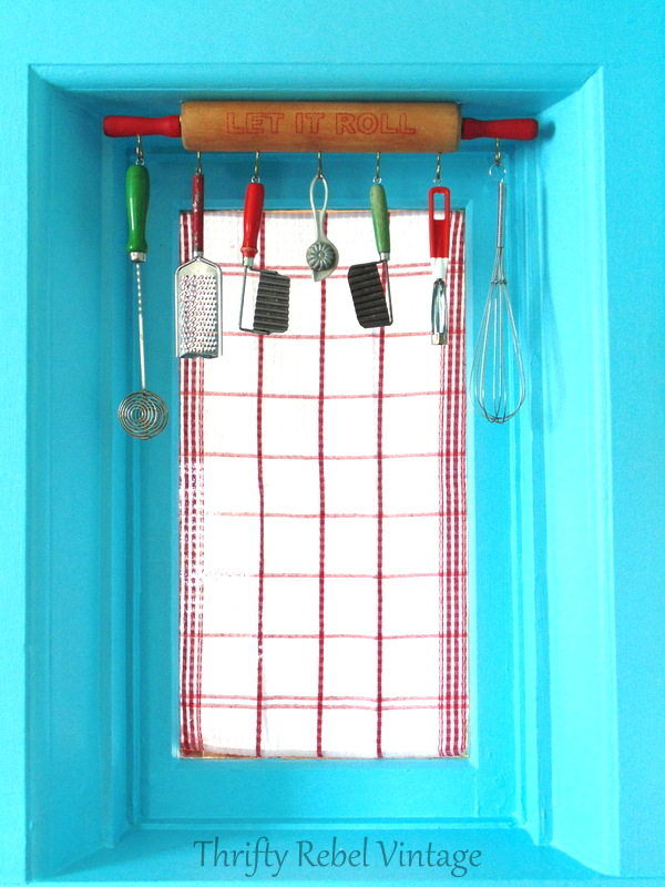 Rolling pin window valance, by Thrifty Rebel Vintage, featured on Funky Junk Interiors