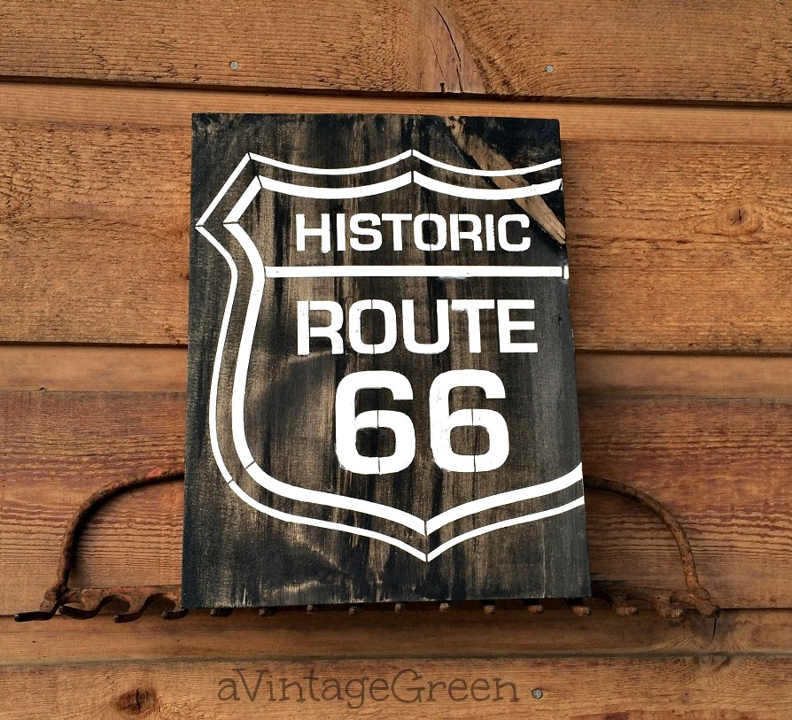 Drywall enhanced Route 66 sign with rake hanger, by A Vintage Green, featured on Funky Junk Interiors