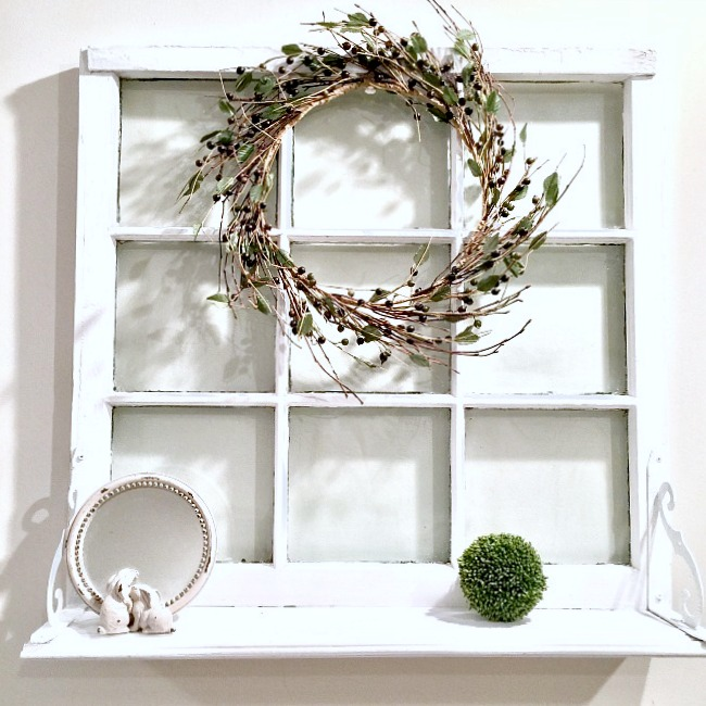 Repurposed vintage window shelf, by Homeroad, featured on Funky Junk Interiors