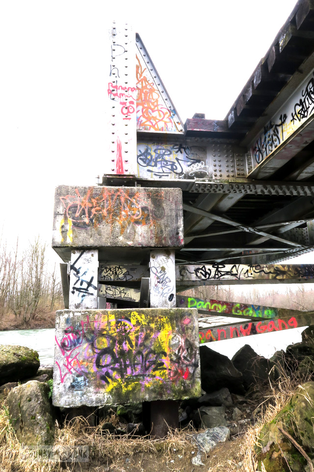 Graffiti on the Vedder River train bridge while beating the Feb blues with a winter bike ride | funkyjunkinteriors.net