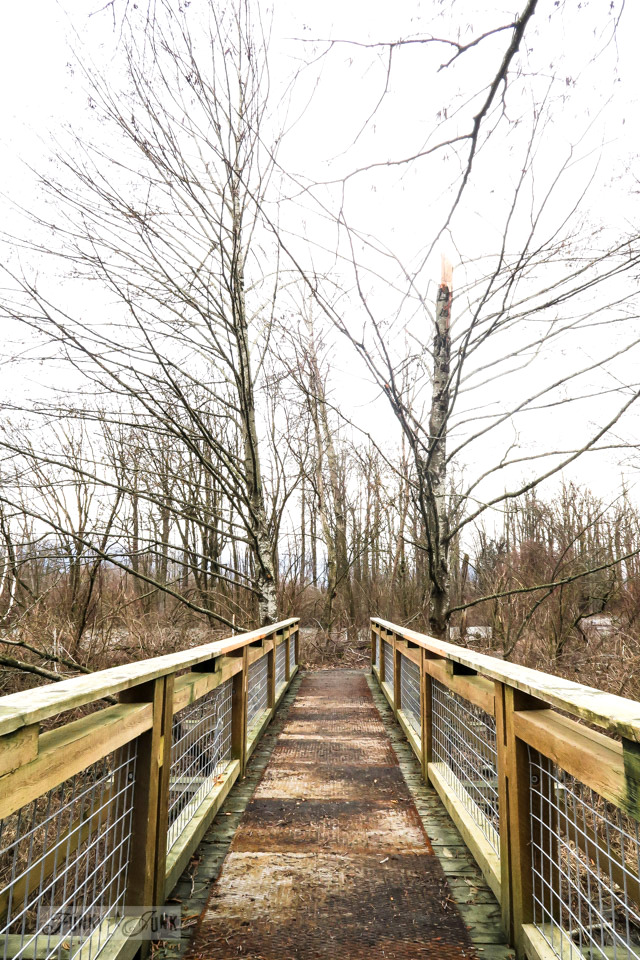 Rustic wood bridge over the river while beating the Feb blues with a winter bike ride   funkyjunkinteriors.net