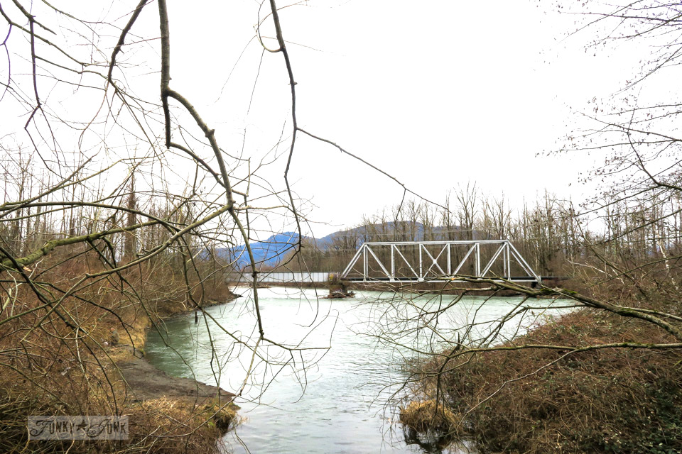Vedder River overlooking the train bridge while beating the Feb blues with a winter bike ride   funkyjunkinteriors.net