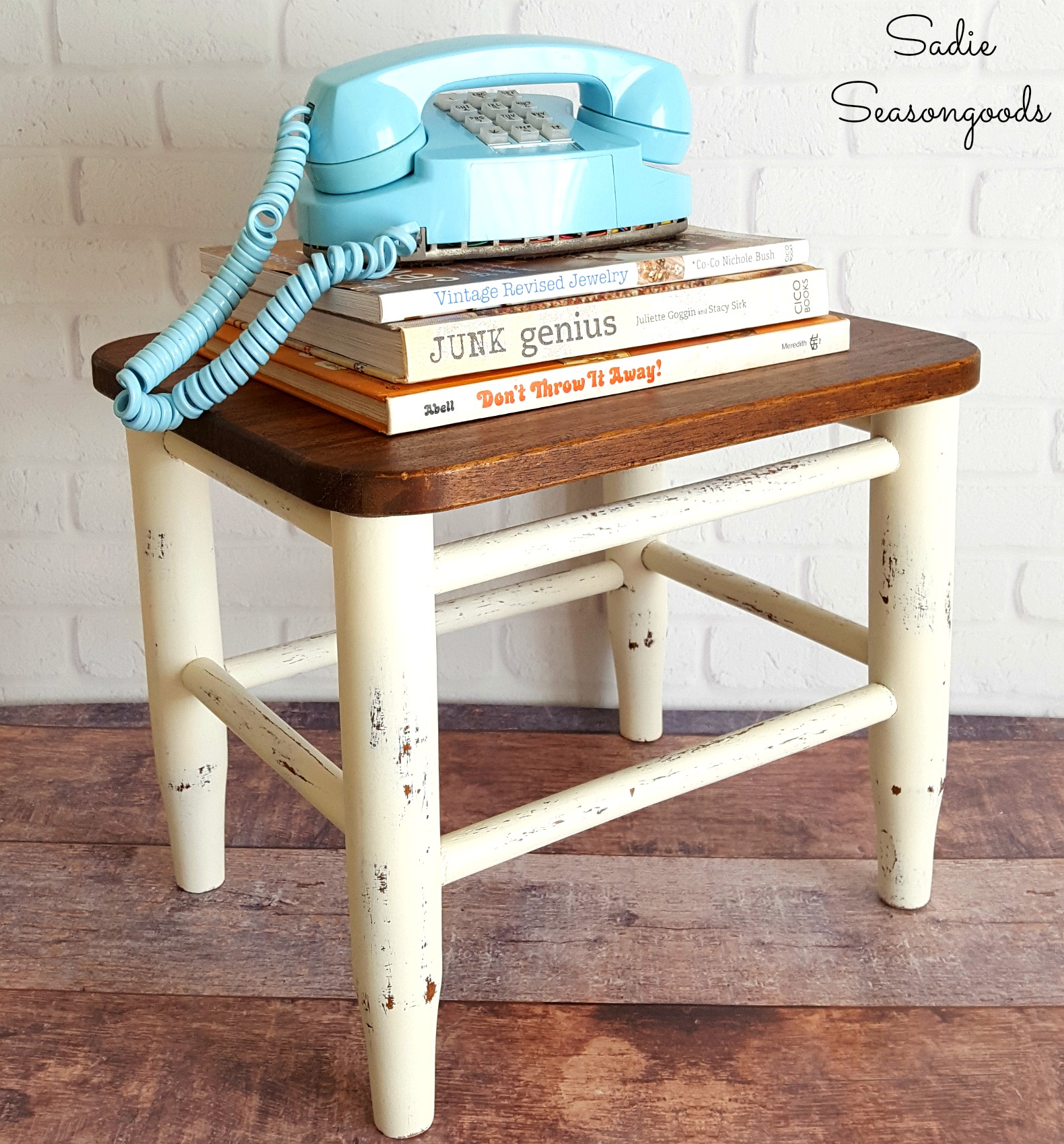 Cutting board topped stool, by Sadie Seasongoods, featured on Funky Junk Interiors
